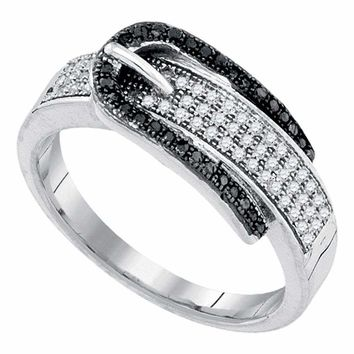 10kt White Gold Women's Round Black Color Enhanced Diamond Belt Buckle Band Ring 1-4 Cttw - FREE Shipping (US/CAN)
