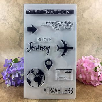 Travellers Destination Journey Post Cards  Scrapbook DIY photo cards account rubber stamp clear stamp transparent stamp 20*11cm