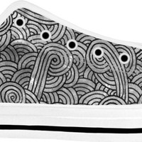 Grey and black swirls doodles White Low Tops