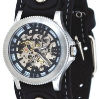 Nemesis #STH003K Men's Wide Leather Cuff Strap Self Winding Automatic Skeleton Dial Watch