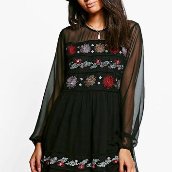 Petite Eden Embroidered Mesh Sleeve Skater Dress | Boohoo