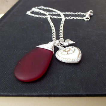 Red Sea Glass Necklace: Ivory Victorian Heart Charm Necklace, Fine Silver Wire Wrapped Hammered Chain Necklace, Valentine's Day Jewelry