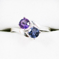 Amethyst and Iolite Two Stone Ring - Sterling Silver
