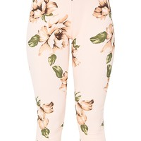 Blush Floral Frill Trim Trousers