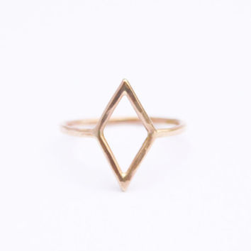 Gold Diamond Shape Ring, Thin Gold Ring, Simple Gold Ring, Geometric Shape, Pinky Ring, Midi, Knuckle Ring