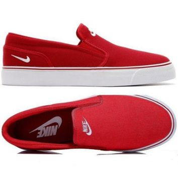 Nike White/Black Classic Canvas Leisure Shoes Red-1