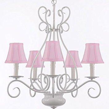 """White Wrought Iron Tole Chandeliers Lighting W/ Pink Shades H 25.5"""" X W 25.5"""" - A7-Sc/Pinkshade/White/441/5"""