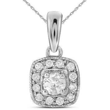 14kt White Gold Womens Round Diamond Solitaire Square Halo Pendant 1-4 Cttw