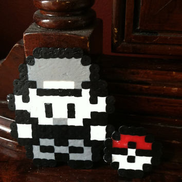 Perler Bead Ash and Pokeball, Magnet or Key Chain