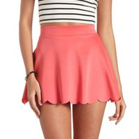 Scalloped High-Waisted Skater Skirt by Charlotte Russe - Coral