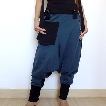 08.Trousers Bib Ninja Pants Suspender , Gaucho Unisex, Ribbed Cotton,Two Tone Aqua/Black Colour.