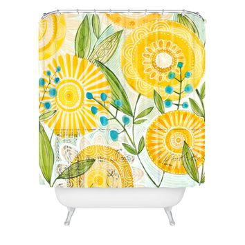 Cori Dantini Sun Burst Flowers Shower Curtain