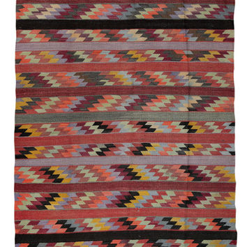 Turkish Kilim Rug Striped Outdoor Antique Area