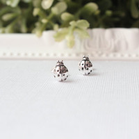Sterling Silver Ladybug stud earrings - Tiny Ladybug stud, Ladybug studs post earring, Cartilage Earring, Children Jewelry, Lady Bug Earring