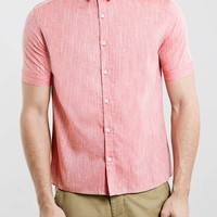 Red Textured Short Sleeve Boxy Fit Smart Shirt - Topman