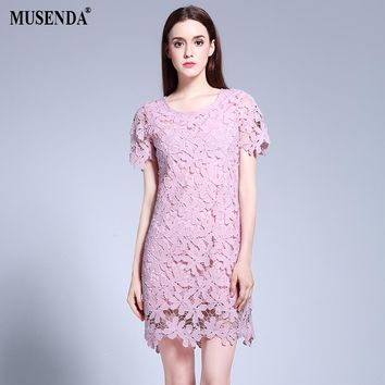 MUSENDA Plus Size Women Slim Hollow Out Lace Short Pink Dress Summer Sundress Lady Casual Fashion Brief Cute Party Dresses