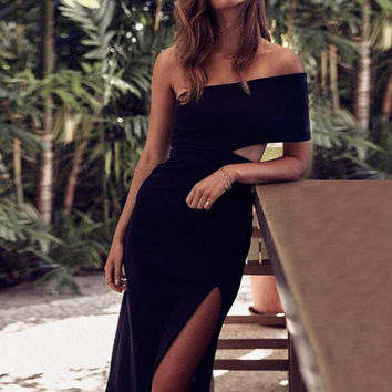 Strapless Bodycon Split Maxi Dress