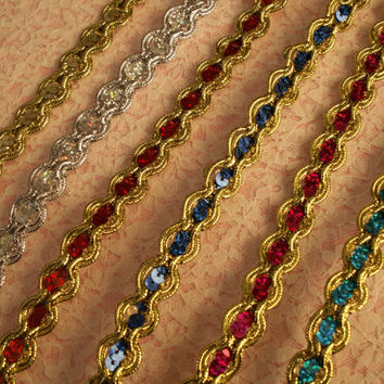 "Metallic Gold Cord with Sequin Trim, 5/8"" Wide, Christmas Crafts, Costumes, Dancewear, Burlesque, Fascinators & Hats, Sparkle Trim, 2 YARDS"
