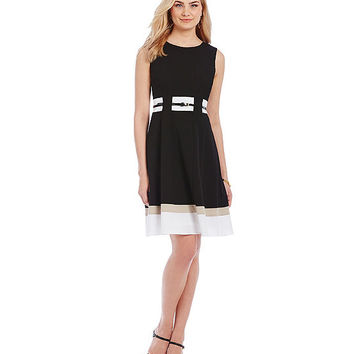 Calvin Klein Sleeveless Belted Colorblock Dress | Dillards