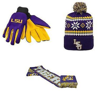 Licensed NCAA LSU Tigers Spirit Scarf Fogbow Beanie Hat And Grip Work Glove 3Pk 44240 KO_19_1