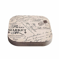 "Sylvia Cook ""French Script"" Handwriting Coasters (Set of 4)"