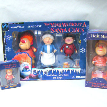 The Year Without a Santa Claus Vintage Figurine Set Collectible Heat Miser Rankin Bass Christmas Action Figures