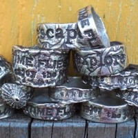 Personalized Silver Ring Handstamped Words Custom by HappyGoLicky