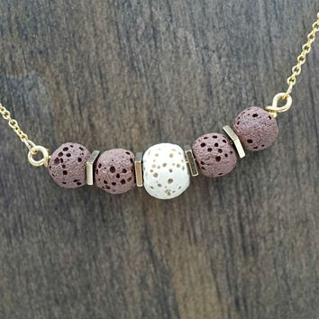 Brown Lava Stone Aromatherapy Necklace Essential Oil Diffuser Necklace