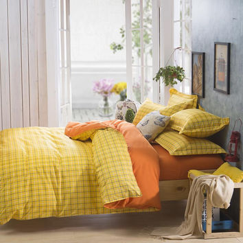 Duvet Cover/ Sheet / Pillowcase Set Yellow Check