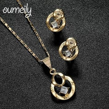 OUMEILY New Fashion Women Trendy Jewelry Set  Necklace Earrings Floral Wedding Indian Party Wedding Bridal Accessories Jewellery
