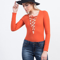Lace Up Ribbed Bodysuit