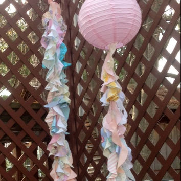 Tassel Garland with Pink Paper Lantern Curly Tassels Photo Prop Large Paper Lantern Curley Tassels Shabby Chic Streamers Boho Tassel