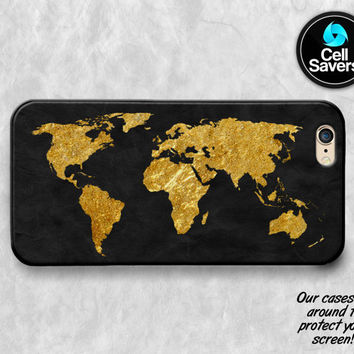 World Map Gold iPhone 6s Case iPhone 7 Plus iPhone 6 Plus iPhone 6s Plus iPhone 5c iPhone 5 iPhone SE Case Map Gold Black Travel Tumblr Cute