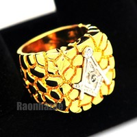NEW MENS FREEMASON MASONIC SILVER/GOLD PLATED NUGGET RING SIZE 8 - 13 N012T