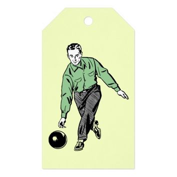 RETRO BOWLING MAN Custom Gift Tags Pack Of Gift Tags