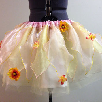 SPRING COLLECTION PREMIER Adult/Teen Mid Length Pink and Yellow Spring Garden Fairy Tutu Skirt with Flowers and Swarovski Crystals