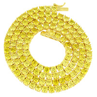 "Canary Lab diamonds Tennis Necklace Solitaire 22"" 4mm XmasDeal"
