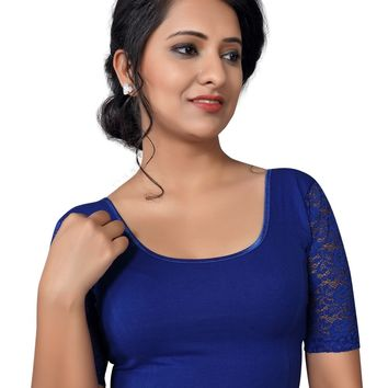 Blue Cotton Lycra Quarter Sleeve Stretchable Saree Blouse SNT-A-26-SL