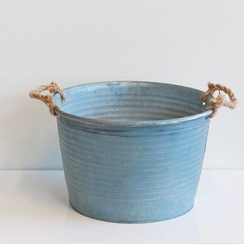 """Light Blue Large Metal Floral Bucket - 8.75"""" Tall x 13.25"""" Opening"""