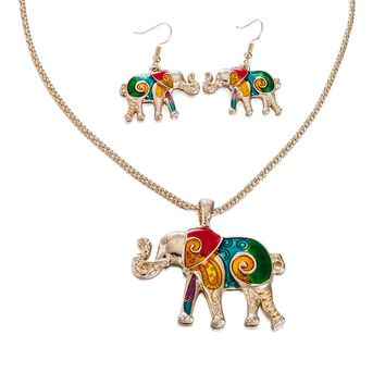Elephant Necklace And Earrings Set 18k Gold Plated Stainless Steel With Enamel Elephant Animal Lucky Elephant Necklace Jewelry For Everyday Wear
