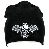 Bat Wing Death Skull Beanie Black Knit Cap