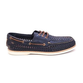 Frye Boot Sully Woven - Navy Boat Shoe