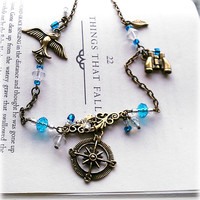 "OOAK Femme Steampunk Compass Charm Necklace ""Blue Skies"", Bird Binocular Compass Charms Bronze Turquoise Clear, Chic Victorian Sky Pirate!"