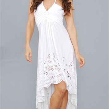 Sky White Firaki Long Summer Dress