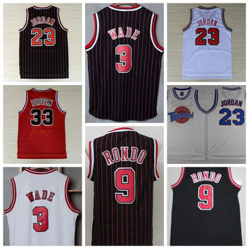 Cheap 21 Jimmy Butler Jersey Throwback 3 Dwyane Wade Uniform 9 Rajon Rondo Basketball Jerseys 33 Scottie Pippen Red Black White Sport Shirts