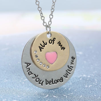 Europe English letters simple black engraving romantic love couple Necklace
