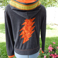 Grateful Dead 13pt Lighting Bolt Gray Hoodie with Vintage Flower Trim Upcycled Zip Up Hoodie OOAK Size S  Patchwork  Hippie clothes