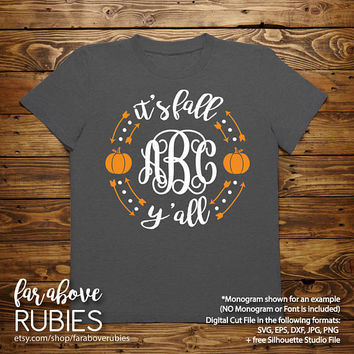 It's Fall Y'all Monogram Wreath with Pumpkins (monogram NOT included) SVG, EPS, dxf, png, jpg digital cut file for Silhouette or Cricut