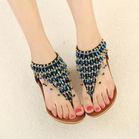 Blue Beads Sandals for Women W72