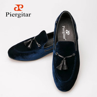 Hige grade velvet lether blue duarable red outsole pig lether lining quilt leather inshoe handmade slipper